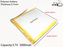 1pcs/lot polymer Rechargeable lithium battery 37108103 3.7V 5000mAh battery pack For DIY GPS for tablet pc 8 inch 9inch(China)