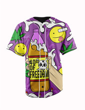 Real American Size  40 oz  3D Sublimation Print Custom made Button up baseball jersey plus size