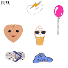 Sweet Cartoon Set Broches For Women Ice-cream Smiley Love Face Word Flip-flops Balloon Lapel Pins Fashion Brooch Jewelry(China)
