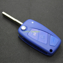 LinHui for FIAT BRAVO PUNTO Blank Key 3 Buttons Uncut Cooper Blade Remote Blue Flip Replace ABS Shell 1 PC With Logo