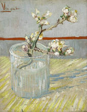 vincent van gogh Blossoming Almond Branch in a glass giclee print on canvas for home decoration and wall art for living room