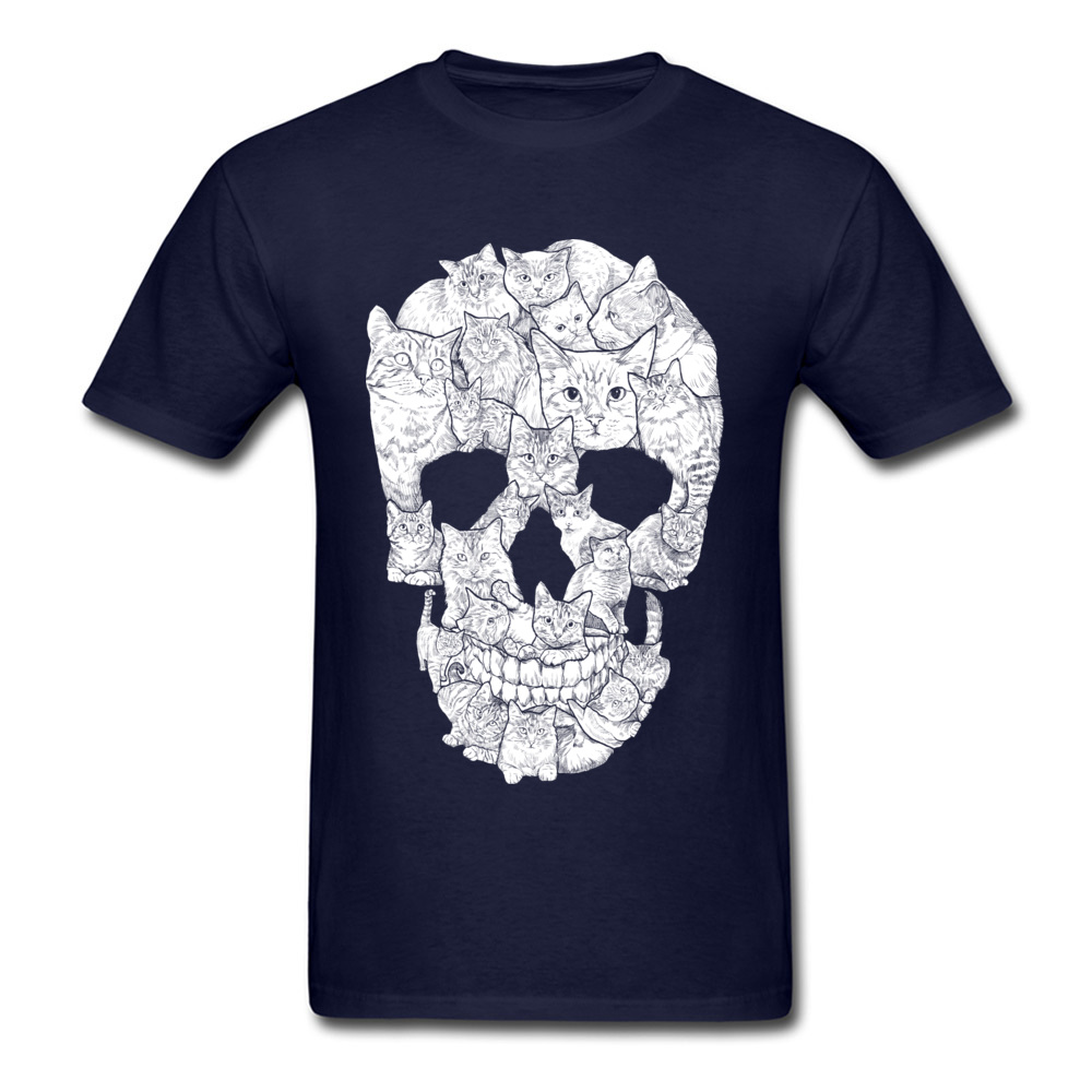 Sketchy Cat Skull Wholesale Short Sleeve Camisa T Shirt 100% Coon O-Neck Men T Shirt Casual Tee-Shirt Summer Autumn Sketchy Cat Skull navy