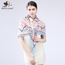 [Marte&Joven] Fashion Fringed Brim Floral Wrap and Scarf Ethnic Style Bandana Flower Design Square Scarves and Shawls for Women(China)