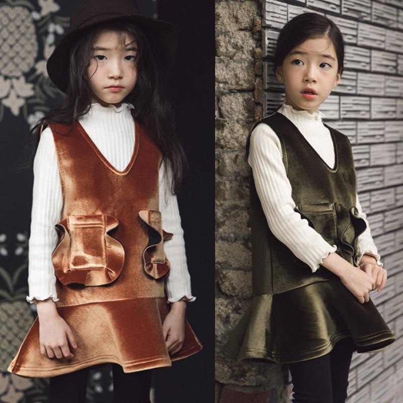 Girls thickened vest dress winter 2017 new girls fungus dress veil childrens velvet pocket decorative princess dress<br>