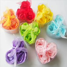 3Pcs/Box Heart-Shaped Rose Soap Flowers Romantic Wedding Party Gift Artificial Flower Decor Health Care Tool(China)