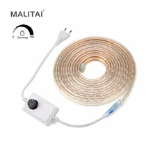 SMD 5050 AC 220V LED Strip light Dimmable Waterproof Garden Outdoor Home Decoration lamp String 60LEDs/M With Dimmer(China)