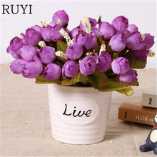 Cute love live Ceramics vase + silk flowers artificial flower set home decoration flowerpot with rose grass daisy gift(China)