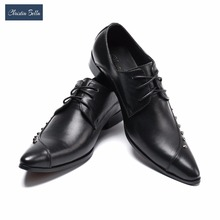 Christia Bella Italian Dress Shoes Men Black Genuine Leather Pointed Toe Wedding Party Shoes Business Formal Shoes with Rivet(China)