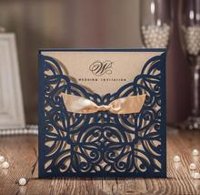 2017 New Free shipping Royal blue gold bow designed elegant laser cut wedding invitations cards 25pcs/lot(China)