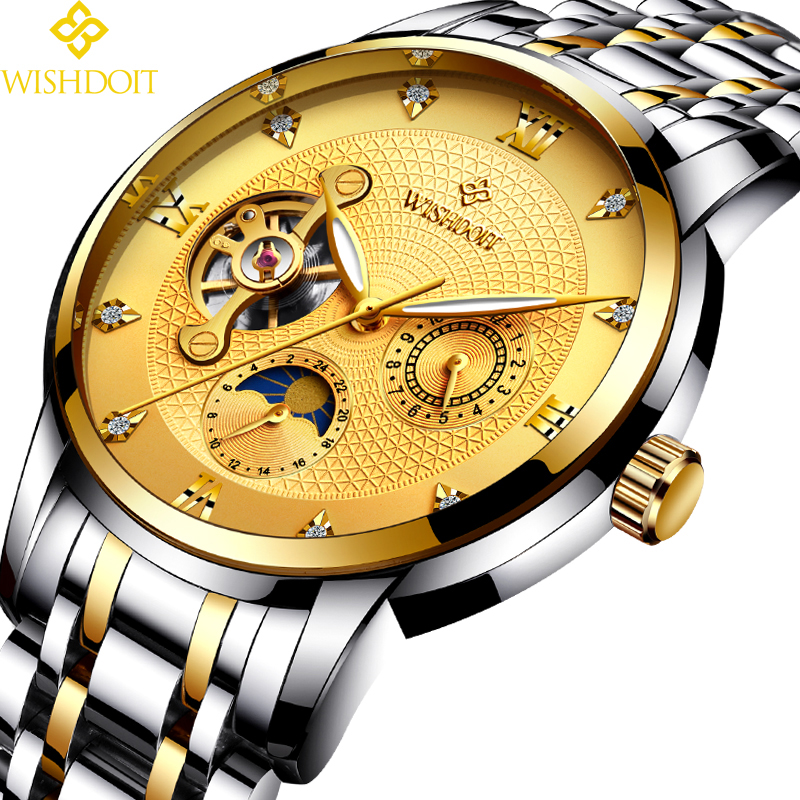 WISHDOIT Men Mechanical Watches Sport Business Waterproof Casual Fashion Steel Mens Watch Military  Male Clock Top Luxury Brand <br>