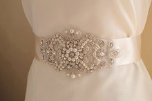 swarovski crystal pearl bead applique, rhinestone bead Applique, bridal sash applique, rhinestone belt trim(China)