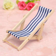Cute Mini Foldable Wooden Deck Beach Chair Couch Recliner For Dolls House Lounge 1:12 New Arrival