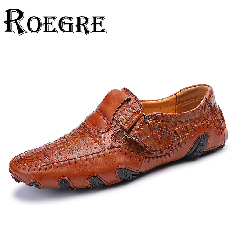 ROEGRE 2017 British Style Men Genuine Leather Alligator Shoes Handmade Mens Loafers with Warm Fur Driving Shoes Plus Size 46<br>