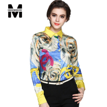 Merderheow New 2017 Spring Fashion Printed Floral Women Elegant Chiffon Blouse Shirt Ladies Casual Clothing Long Sleeve Tops L12