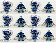 Small wholesale 50pcs Lilo and Stitch pendants mobile phone charms pendants Macking DIY Crafts party favor Gift free shipping