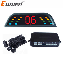 Eunavi Car Auto Parktronic LED Parking Sensor With 4 Sensors Reverse Backup Car Parking Radar Monitor Detector System Backlight(China)
