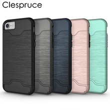 Clespruce Fashion Hybrid phone case capa for Apple iphone X 8 8plus 6 6s 7 7plus Card Slider with Card Storage Armor covers capa(China)