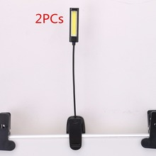 2PC/Lot Flexible Arm COB LED Clip-on Light Lamp Reading Lamp For Piano Laptop Book Reading Ultra Bright Rechargeable Night Light(China)