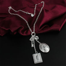 Open Book Lock Key Pendants Men Necklace Women 925 Sterling Silver Fashion Jewelry Chain Plated Wedding Christmas Gift