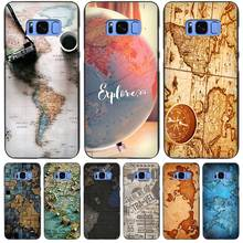 World Map Travel Plans Black Case Cover Shell Coque for Samsung Galaxy S3 S4 S5 Mini S6 S7 S8 Edge Plus S8+