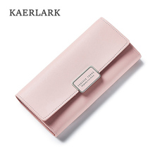 KAERLARK Brand New Luxury Fashion Women PU Purse Long Organizer Soft Wallet Girls Ladies Leather Clutch Bags Thin Edition WQ0035(China)