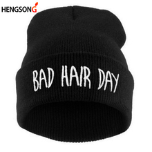 Hat 1PC Winter Bad Hair Day Beanie Cap Men Hat Beanie Knitted Hiphop Winter Hats For Women Fashion Warm Caps Mask DP671503(China)