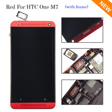 New Red LCD Display For HTC One M7 Touch Screen with Digitizer + Bezel Frame Full Assembly , Free shipping !!!