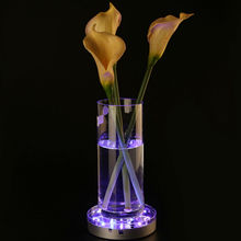 (2pieces/ lot) 6inch Rechargeable LED Light Base Vases Crystal 16 Colours Centrepiece Wedding Decor with Remote + 5VDC Adapter