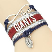 Infinity Love Giants bracelet sport football team Charm leather wrap men bracelet & bangles for women jewelry(China)