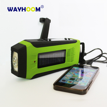 AM/FM/WB Solar Power Radio Hand Crank Dynamo 2000mAh Phone Charger With Flashlight