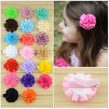 Free Shipping!2015 New 40pcs/lot 20colors Fashion Kids Carnation Flower Satin Ribbon hair clip baby children hair accessories(China)