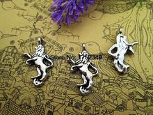 15pcs- running  Lion Charms , Antique Tibetan silver runing lion Charms  pendants 12x22mm