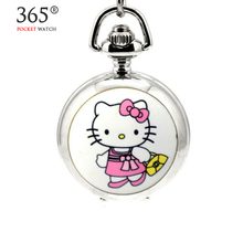 New Hello Kitty Cute Quartz Pocket Watch Necklace relogio steampunk de bolso antique Pocket Watch Fob Watch For Women Girl Gift