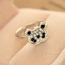Free Hot Sale Promotion Bands Trendy Shipping with $ 10/new Arriver Fashion 2014 Wholesale Small Panda Female Ring for Women