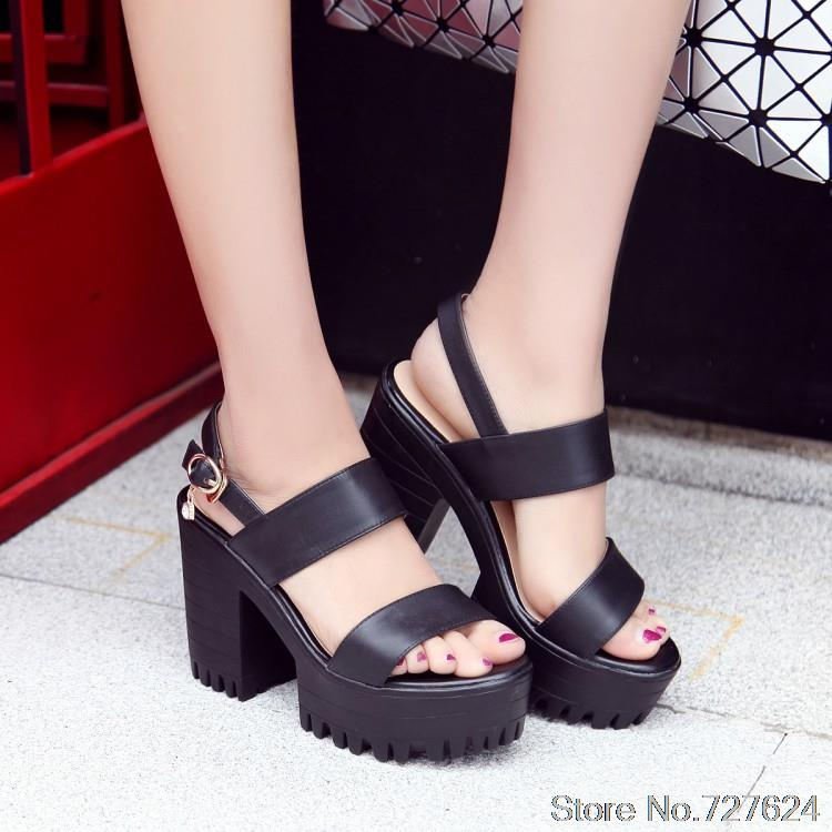 Sandals Genuine Leather New high heel 11CM Platform 3.5CM Female summer EUR Size 34-39 G<br>