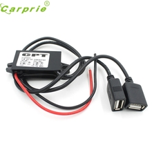 Motorcycle DC 12V To 5V 3A Power Adapter CARPRIE Super drop ship Dual USB Charger Car Boat Supply Mar714