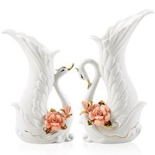ceramic swan Fashion creative abstract flowers vase pot home decor crafts room decoration handicraft porcelain animal figurines