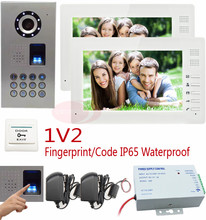 Wired Intercom For Private House 7'' Color Door Phone System Fingerprint/code unlock CCD Camera Intercom Door IP65 waterproof