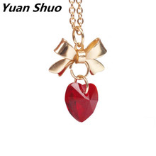 Japanese style hand made solid crystal heart necklace women clavicle chain 2016 butterfly accessories manufacturers selling(China)