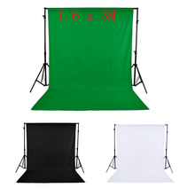 UK/US STOCK 1.6 x 3M / 5 x 10FT Photography Studio Non-woven Backdrop Background Screen 3 Colors for Option Black White Green(China)