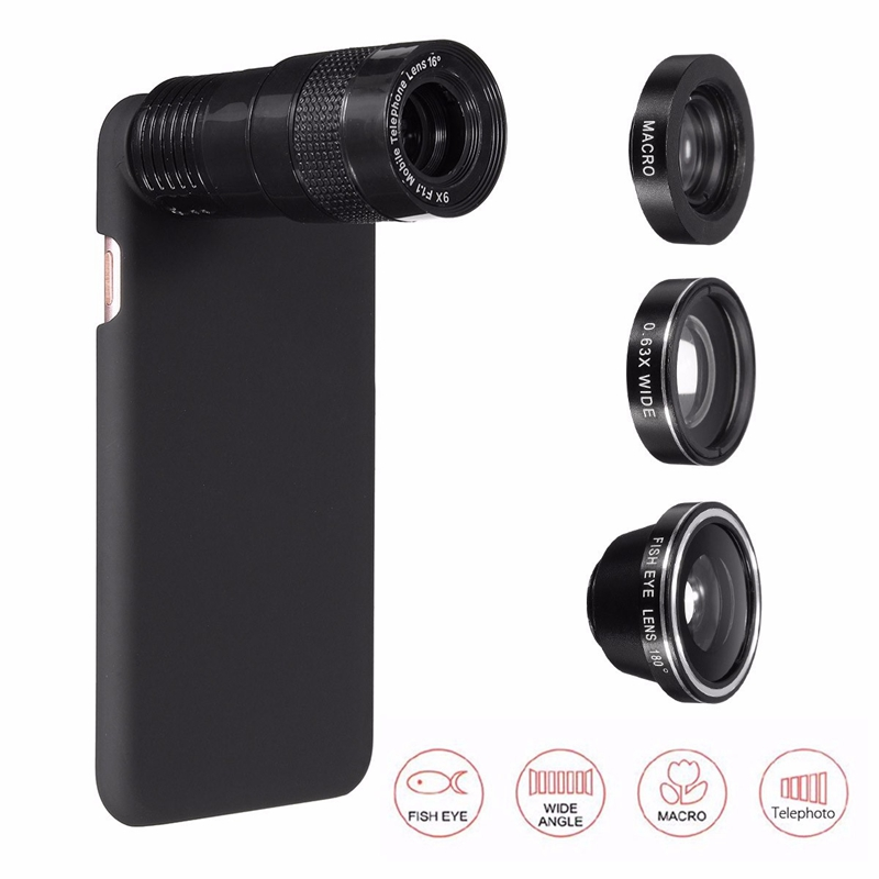 9X Zoom Telephoto 0.63X Wide Angle Lens Macro Fisheye Phone Camera Lens Cover Case 5 1 iPhone 7 7 Plus Apple