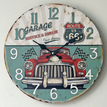 Frameless Home Decor Wooden Wall Hanging Clocks European Style Retro Car Pattern Digital Wall Clock Photography Props