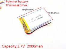 3.7V 2000mAh 903759 Lithium Polymer LiPo Rechargeable Battery ion cells For Mp3 Mp4 Mp5 DIY PAD DVD E-book bluetooth headset