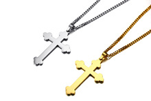 Long Chains Gold/Silver Eastern Orthodox Cross Necklace Pendant Mens Jewelry,316L Steel Gold Crucifix Necklace Jewelry(China)