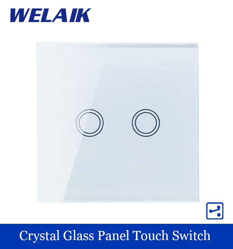 WELAIK Touch Switch Screen  Crystal Glass Panel wall switch EU Standard 110~250V Wall Light Switch 2gang2way LED lamp A1922XW/B<br><br>Aliexpress