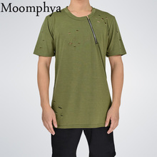 Moomphya new design Men neck zip holes t shirt men street wear casual tshirt neck with size zip ripped distressed t-shirt men