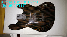 free shipping new unfinished electric bass guitar with zebra wood body and neck without hardware F-2075