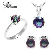 Classic Round Genuine Rainbow Fire Mystic Topaz Pendant Ring Earring For Women Wedding Gift Set 925 Sterling Silver(China)