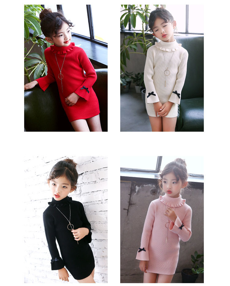 high neck knitting girls sweater dress kids clothes long sleeve knitted red black white autumn winter kids sweater knit tops 5 6 7 8 9 10 11 12 13 14 15 16 years little teenage big girls white girls dresses (15)