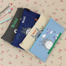 2PCS Kawaii Oxford Cloth Pencil Case for Kids Lovely Cartoon Totoro Pencil Bags Learning Stationery Gift(China)